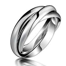 cute unique rings images Stainless titanium steel triple circles twist knot rings for women jpg