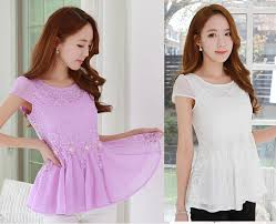 blouses for juniors 2015 summer beaded pinched waist o neck lace shirt