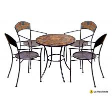 dining room brown mosaic bistro table with black legs with chairs