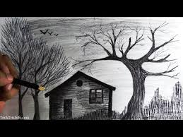 how to draw a scenery house in forest step by step youtube