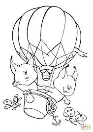 two squirrels fly an aerostat balloon coloring page free