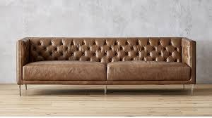 Leather Brown Sofas Savile Saddle Brown Leather Tufted Sofa In Sofas Reviews Cb2