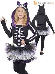 Halloween Cat Skeleton Skelly Cat Animal Skeleton Children Girls Smiffys Fancy Dress