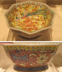 file octagonal bowl with dragon and phoenix designs china 20th