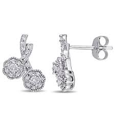 white gold earrings 0 294ctw diamond cluster 10k white gold drop earrings
