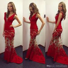 red 3d appliques flora prom dresses mermaid illusion look v