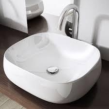 bathroom square counter top mounted modern designer white ceramic