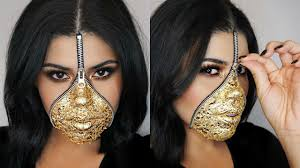 easy last minute zipper face makeup using gold leaf halloween