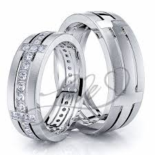 His And Hers Wedding Ring Sets by Solid 068 Carat Designer Cross 6mm His And Hers Diamond Wedding