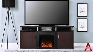 carson electric fireplace tv console youtube