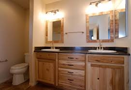 garnet master bathroom with rustic hickory cabinets laminate