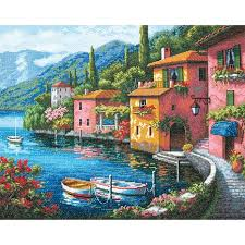 dimensions gold counted cross stitch kit lakeside