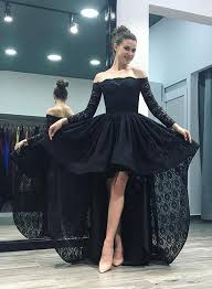 black lace high low long sleeve prom dress black evening dress