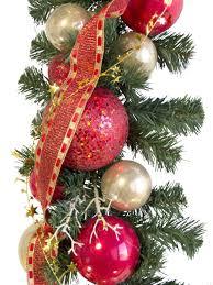 pre decorated red u0026 gold bauble garland 2 7m garlands wreaths