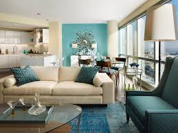 teal accent wall living room contemporary with white kitchen