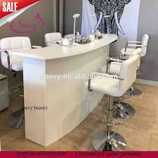Manicure Bar Table Seats Salon White Bar Chairs Manicure Nail Bar Tables