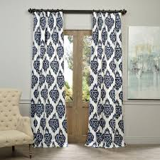 Textured Cotton Tie Top Drape by Exclusive Fabrics Ikat Blue Printed Cotton Curtain Panel Free
