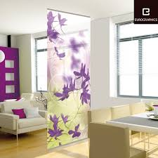 Living Room Divider Ideas by Beautifully Purple Flower Patterns Decorative Wall Dividers For