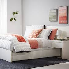 Building A Platform Bed With Storage Drawers by Storage Platform Bed Frame White West Elm