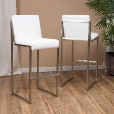 White Metal Bar Stool White Bonded Leather Barstool