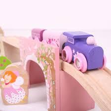 bigjigs pink arched bridge train set bjt239 fairy range toys