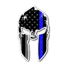 Thin Blue Line Flag Spartan Helmet Thin Blue Line Flag Sticker U2013 Thin Blue Line Shop