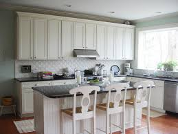 new white kitchen backsplash ideas with chairs and brown floor