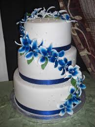 wedding cake in white and royal blue from the house of cak u2026 flickr