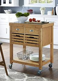 kitchen islands with stainless steel tops amazon com boraam 50650 kenta bamboo kitchen cart with stainless