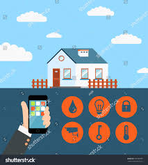 Smart Home Technology by Concept Smart House Smart Home Technology Stock Illustration