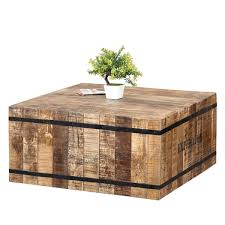 Coffee Table Box Rustic Mango Wood Iron Square Box Style Coffee Table