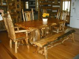 Log Dining Room Tables Dining Room Set With Bench Seat And Three Captain Style Chairs