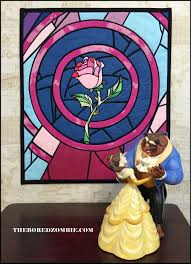 beauty and the beast stained glass rose quilted wall hanging the