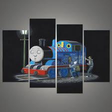4 pcs banksy art graffiti thomas train cartoon printed