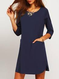 shift dress navy shift dress with half sleeves and pockets lyfie