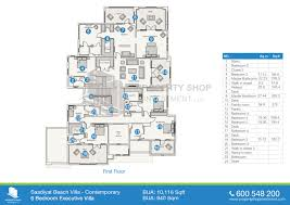 floor plan of saadiyat beach villas saadiyat island