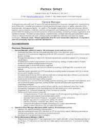 Manufacturing Resumes Resume General Manager Resume