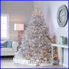 classic tinsel pre lit tree with clear lights 9 ft