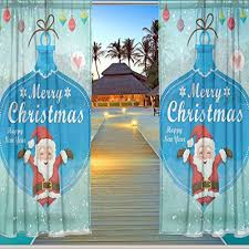 Santa Curtains Alaza Window Sheer Curtain Panels Christmas Decoration Father