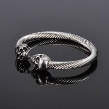 bracelet skull silver images Silver punk skull stainless steel gothic bracelet unisex heavage jpg