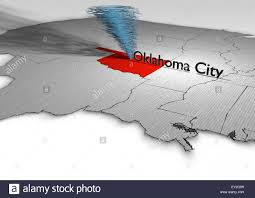The Map Of The United States by Tornado That Moves Along The Map Of The United States Stock Photo