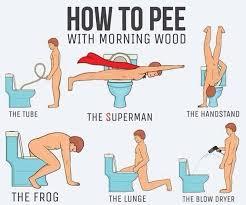 Morning Wood Meme - how to pee with morning wood meme guy