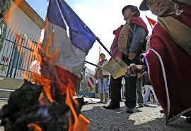 Flag Burning Protest Bolivia Protest Descends On French Embassy To Express Anger Over