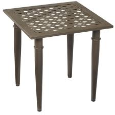 outdoor furniture side table hton bay oak cliff metal outdoor side table 176 411 20et the