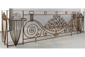 antique large french art deco wrought iron balcony for sale