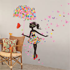 meihuida magic fairy sketch bright color flower butterfly lively meihuida magic fairy sketch bright color flower butterfly lively wall sticker for room decoration amazon co uk kitchen home