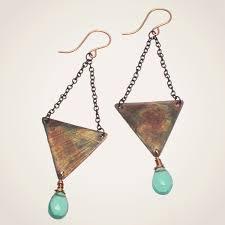 triangle earrings patina earrings gemstone beatrixbell jewelry