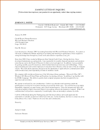 Inquiry Cover Letter Inquiring Letter Sample