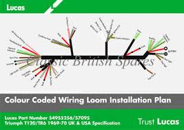 triumph genuine lucas wiring harness 54955256 1969 70 t100 t120