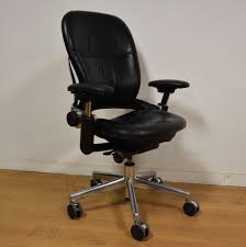 black leather desk chair steelcase leap chairs ebay